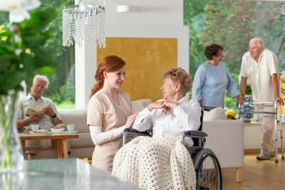 Seniors in a luxury living room of a private retirement home. Tender caregiver by an elderly lady in a wheelchair in the foreground